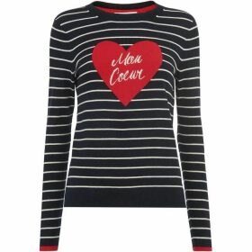 Whistles Mon Coeur Heart Stripe Knit