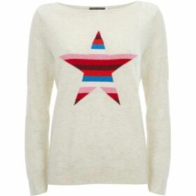 Mint Velvet Ecru Stripe Star Front Knit