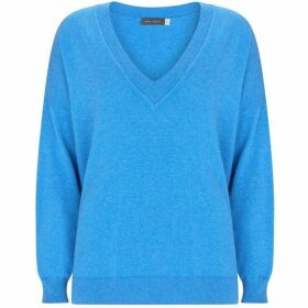 Mint Velvet Blue Marl V-Neck Boxy Knit
