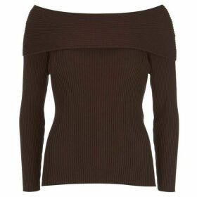 Mint Velvet Chocolate Bardot Ribbed Knit