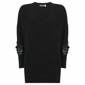 Mint Velvet Black Sequined Sleeve Knit