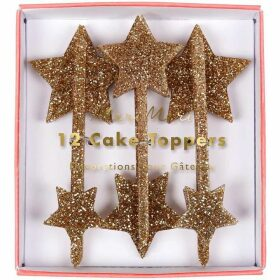 Meri Meri Gold Star cake toppers