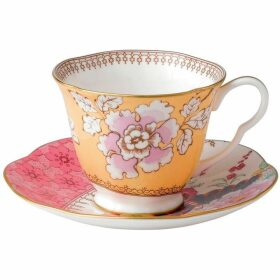 Wedgwood Butterfly bloom teacup and saucer yellow