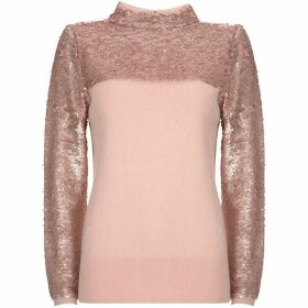 Mint Velvet Blush Sequin Roll Neck Knit