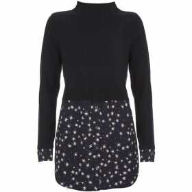 Mint Velvet Navy Star Print Layered Knit
