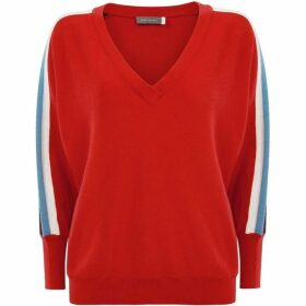 Mint Velvet Red Side Stripe V-Neck Knit