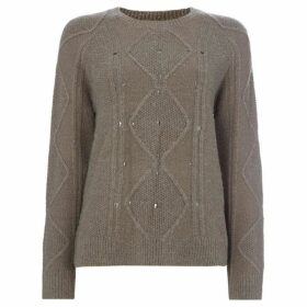 Label Lab STUD DETAIL CABLE FRONT KNIT