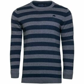 Raging Bull Big & Tall Stripe Crew Neck Knit