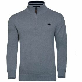 Raging Bull Big and Tall Knitted Cott/Cash quarter Zip