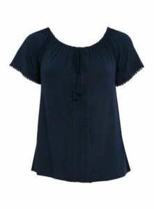 Navy Blue Crochet Detail Top, Navy