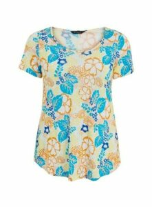 Ivory Floral Print T-Shirt, Ivory