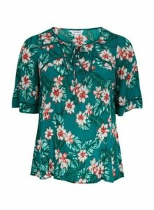 Green Tropical Palm Print Top, Green