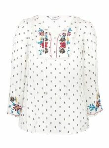 Ivory Embroidered Floral Print Blouse, Ivory