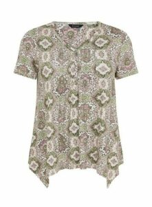 Khaki Paisley Print T-Shirt, Khaki