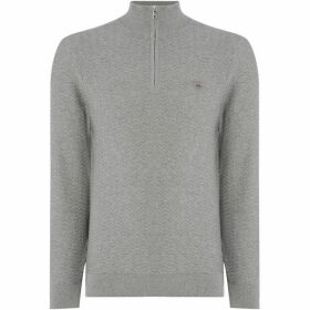 Gant Herringbone Textured Half Zip Knit