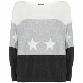 Mint Velvet Grey Blocked Star Batwing Knit