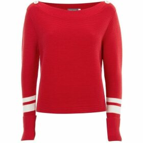 Mint Velvet Red Contrast Stripe Knit