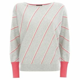 Mint Velvet Grey Diagonal Stripe Knit