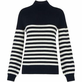 Whistles Stripe Funnel Neck Rib Knit
