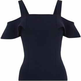 Whistles Double Strap Frill Bardot Knit