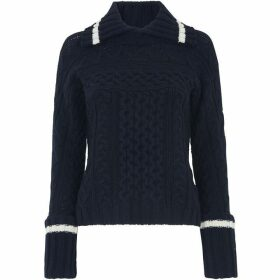 Whistles Cable Split Neck Knit