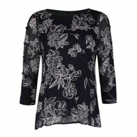 Button Sleeve Osterley Linear Floral Chiffon Blouse