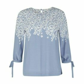 Blue Bow Sleeve Climbing Floral Blouse