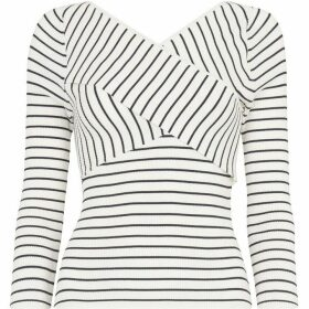 Whistles Wrap Front Stripe Knit