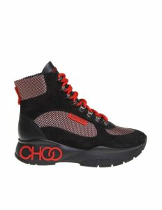 Jimmy Choo Inca Sneakers In Leather And Fabric Color Black / Red