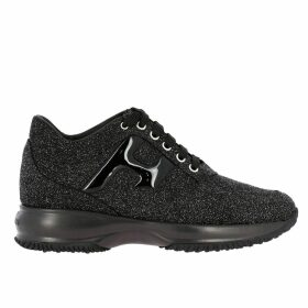 Hogan Sneakers Hogan Interactive Sneakers In Glitter Fabric With H In Patent