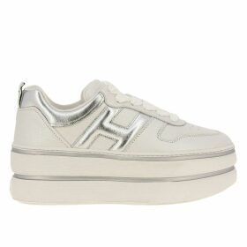 Hogan Sneakers 449 Hogan Sneakers In Pearled Leather With Rounded H And Maxi Platform Sole