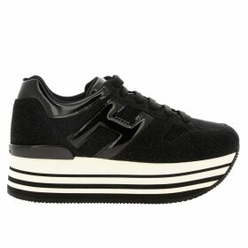 Hogan Sneakers Sneakers 283 Hogan Platform In Glitter Crust Leather With Big H In Patent