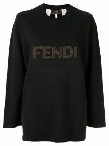Fendi Pre-Owned logo patch sweatshirt - Black