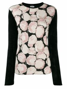 Chanel Pre-Owned velvet effect Camellia print blouse - Black