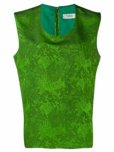 Yves Saint Laurent Pre-Owned leaf print sleeveless blouse - Green