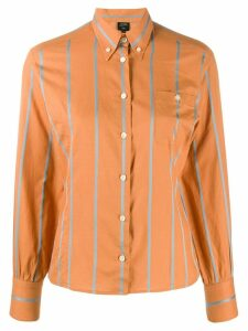 Jean Paul Gaultier Pre-Owned stripe appliqué slim shirt - ORANGE