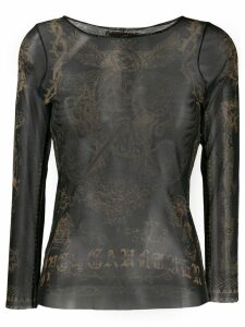 Jean Paul Gaultier Pre-Owned 1996 tattoo print sheer top - Black