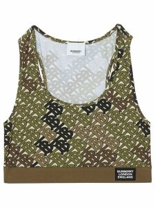 Burberry Monogram Print Stretch Jersey Bra Top - Green