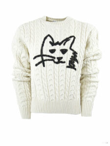 MSGM White Wool Blend Sweater