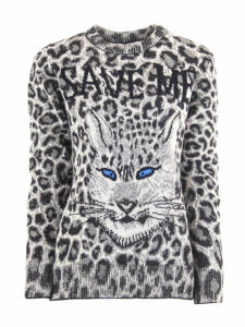 Alberta Ferretti Maculated Grey Virgin Wool Sweater