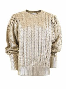 MSGM Coated Wool Blend Scoop Neck Sweater