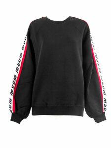 MSGM Crew Neck Sweatshirt In Black Cotton