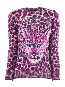 Alberta Ferretti Maculated Fuchsia Virgin Wool Sweater