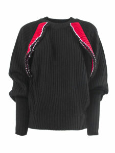 MSGM Black Wool Blend Ribbed Sweater