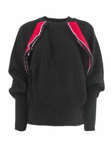 MSGM Black Wool Blend Ribbed Sweater