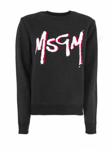 MSGM Black Wool Blend Scoop Neck Sweater
