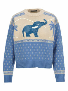 Alanui Handmade Sequins Elephant Sweater