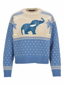 Alanui Handmade Sequins Elephant Sweater