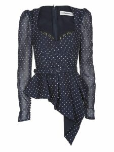 self-portrait Flare Polka-dot Blouse