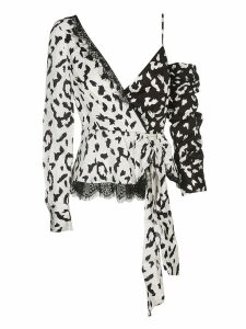 self-portrait Leopard Print Wrap Top